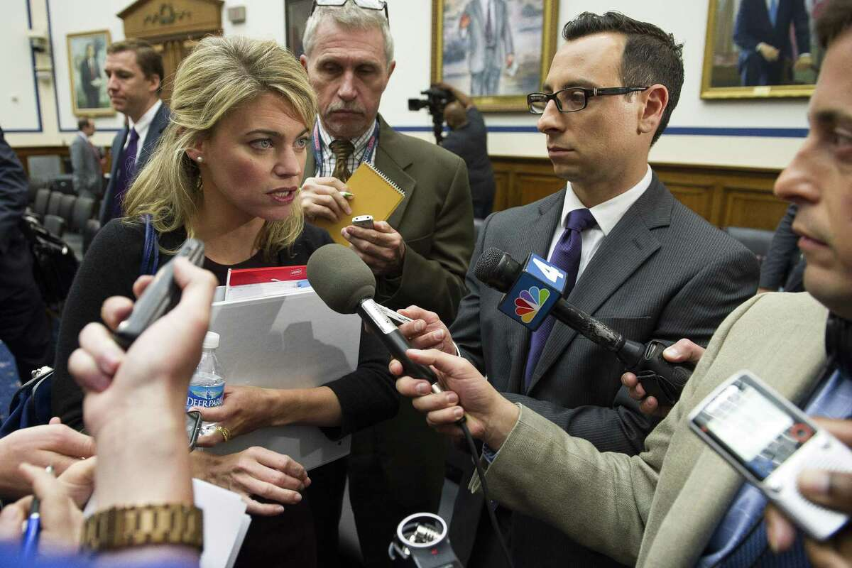 cting Federal Railroad Administrator Sarah Feinberg speaks with reporters on Capitol Hill in Washington, Tuesday, June 2, 2015, following her testimony before the House Transportation and Infrastructure Committee oversight hearing of the Amtrak train derailment in Philadelphia.