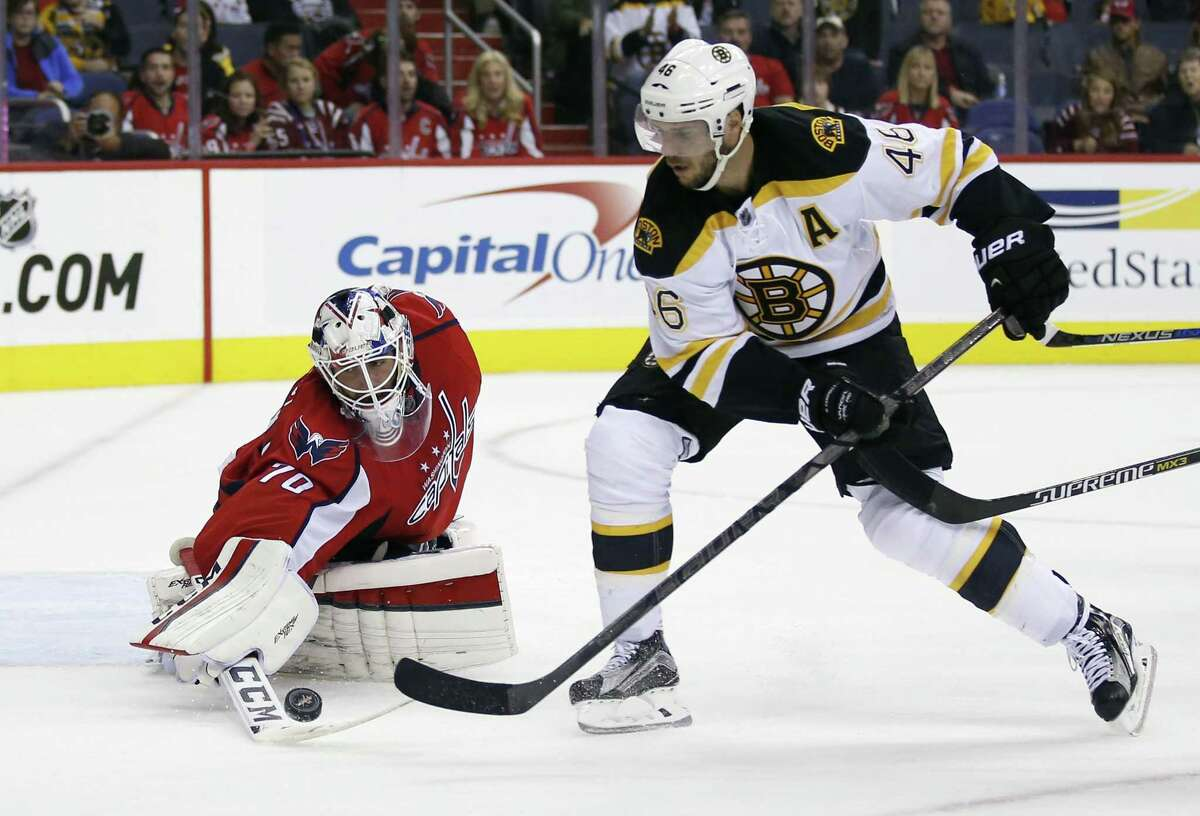Washington Capitals goalie Braden Holtby (70) reaches for the puck shot by Boston Bruins center David Krejci (46), from the Czech Republic, in the overtime portion of an NHL preseason hockey game, Friday, Oct. 2, 2015, in Washington. The Capitals won 2-1 in a shootout. (AP Photo/Alex Brandon)