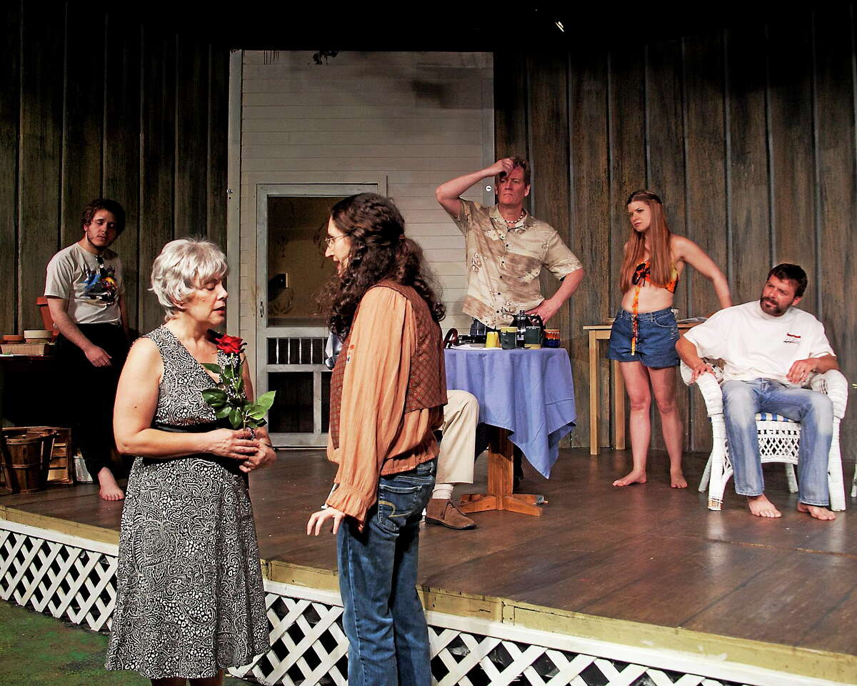 "Photo courtesy of Hole in the Wall Theater The New Britain Hole in the Wall Theater will bring ""Fifth of July"" to stirring and startling life weekends until Saturday, June 28. Above, the cast in a scene from the play."