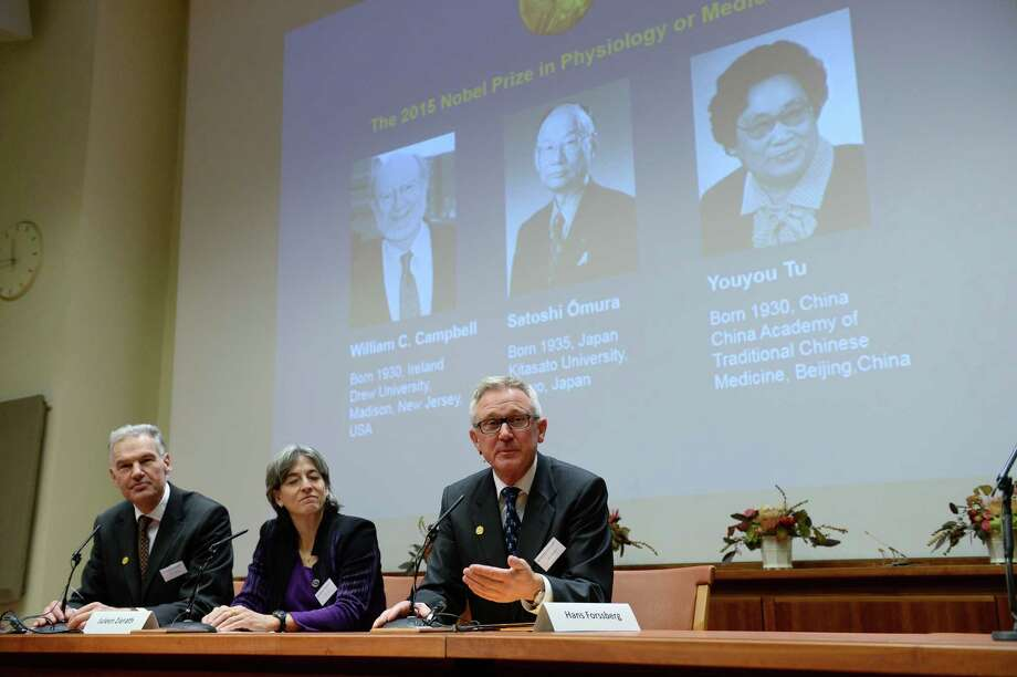 Jan Andersson, Juleen Zierath and Hans Forssberg, members of the Karolinska Institute Nobel committee, talk to media at a press conference in Stockholm on Monday, Oct. 5, 2015. The Nobel judges awarded the prize to Irish-born William Campbell, Satoshi Omura of Japan and Tu Youyou of China, the first ever medicine laureate from China. Photo: Fredrik Sandberg/TT Via AP  / TT NEWS AGENCY