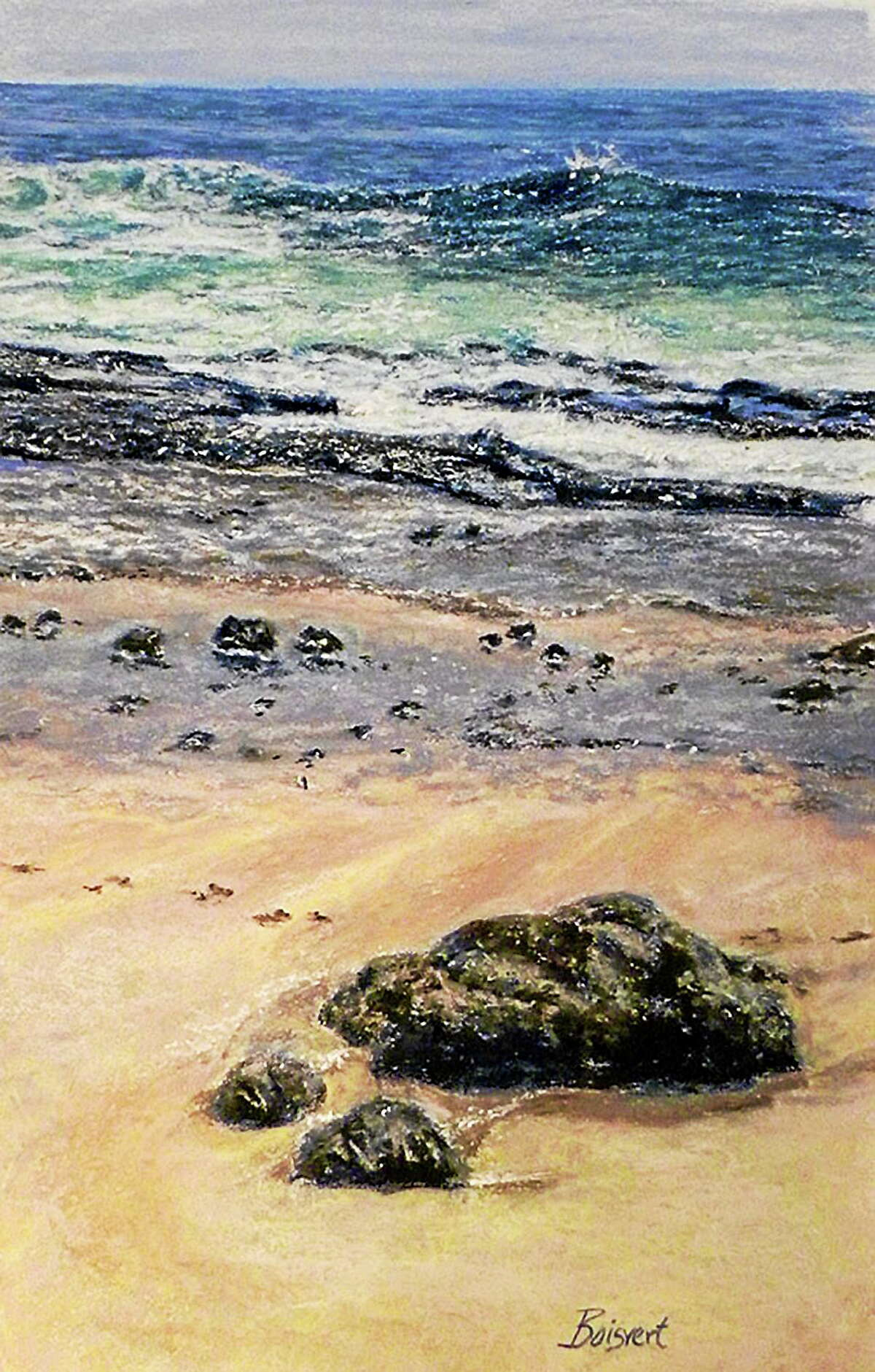"""Image courtesy of the artist """"Rolling Tide"""" by Linda Destanis of Rocky Hill."""