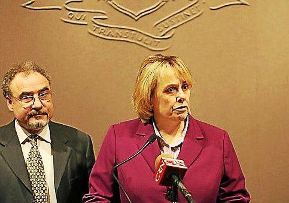 Lori Pelletier, executive secretary-treasurer of the AFL-CIO and Sal Luciano, president of AFSCME Council 4 Photo: CTNJ FILE PHOTO