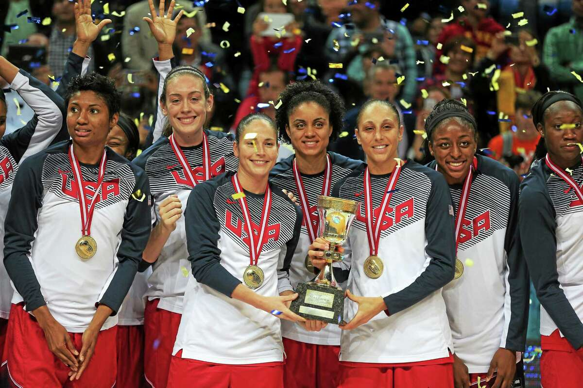 Members of the U.S. basketball celebrate following their victory over Spain at the Basketball World Championship for Women's final in Istanbul, Turkey on Sunday.