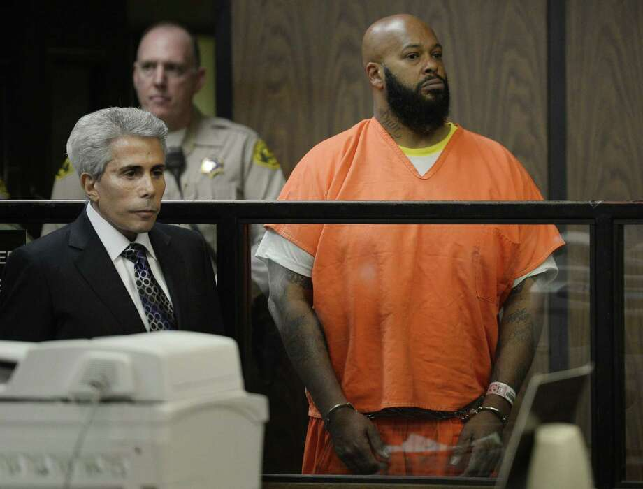 "Marion ""Suge"" Knight joined by his attorney David Kenner, left, during his arraignment, Tuesday, Feb. 3, 2015, in Compton, Calif. Knight, 49, pleaded not guilty on to murder, attempted murder and other charges filed after he struck two men with his truck last week. (AP Photo/Paul Buck, Pool) Photo: AP / Pool EPA"