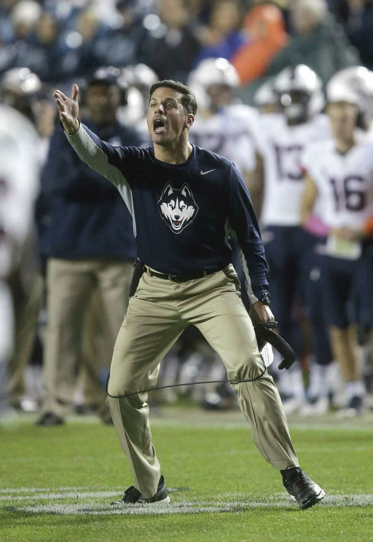 UConn head coach Bob Diaco reacts in the second half against BYU on Saturday.