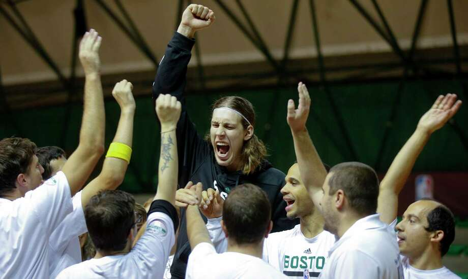 The Celtics' Kelly Olynyk shouts during an exhibition at the NBA Special Olympic Basketball Clinic in Milan, Italy on Saturday. Photo: Luca Bruno —  The Associated Press  / AP