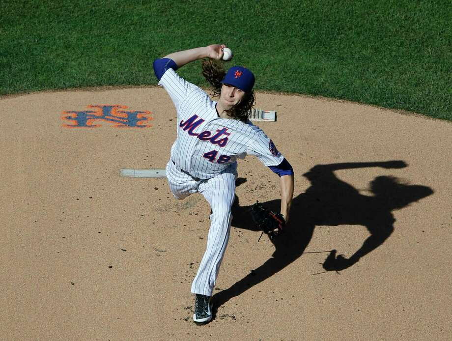 Mets starting pitcher Jacob deGrom will get the ball in Game 1 against the Dodgers in the NLDS. Photo: Kathy Willens —  The Associated Press  / AP