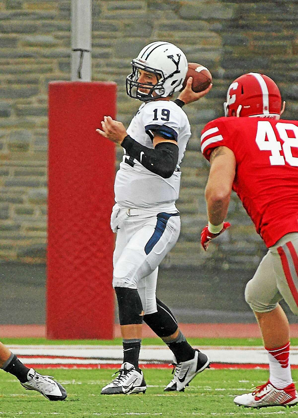 Yale quarterback Morgan Roberts threw for 312 yards and five touchdowns in the Bulldogs' 51-13 win over Cornell on Saturday afternoon in Ithaca, N.Y.