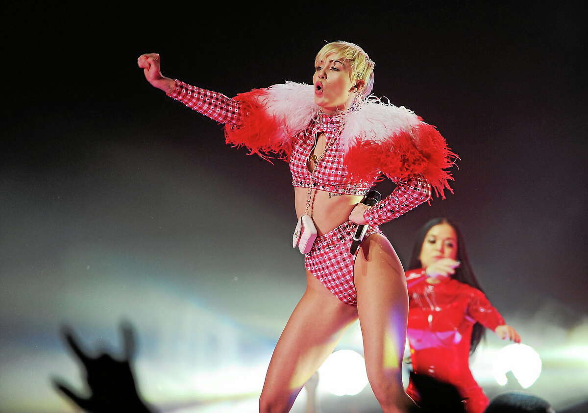Singer Miley Cyrus performs at the Barclays Center in New York.