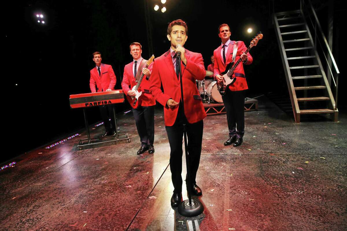 """Jersey Boys"" Nicholas Dromard, Keith Hines, Hayden Milanes and Drew Seeley sing ""Sherry."""