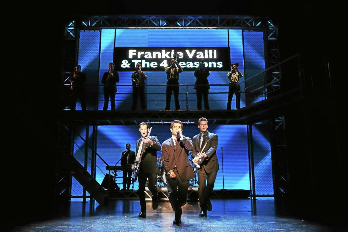 "The cast does ""C'mon Marianne"" in ""Jersey Boys."""