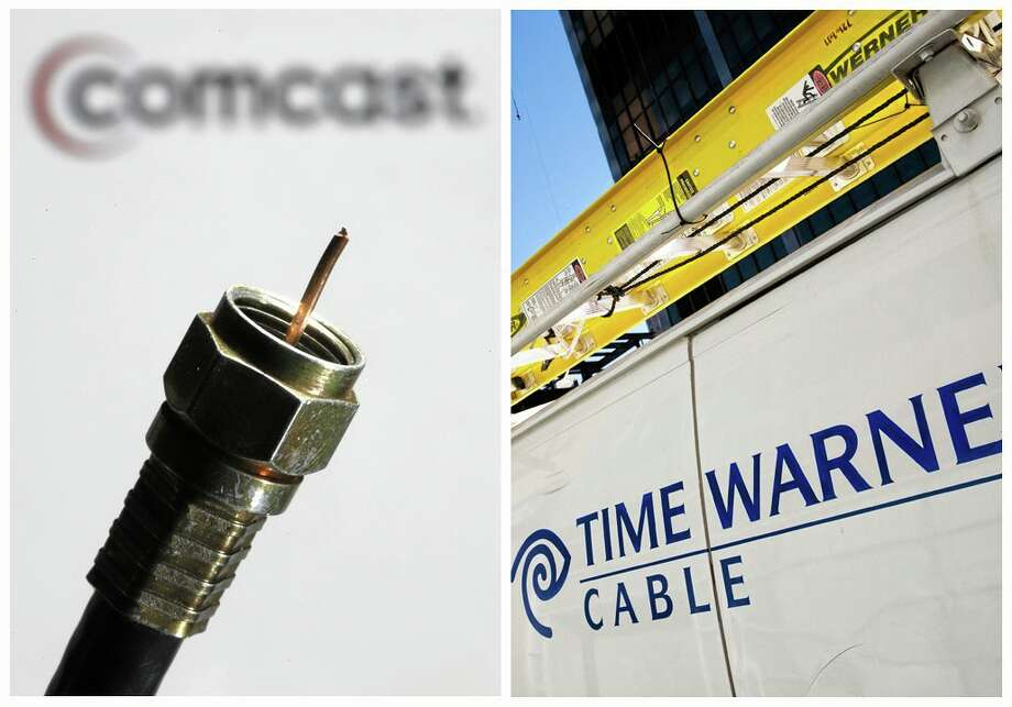 In this combination of Associated Press photos, the a coaxial cable is displayed in front of the Comcast Corp. logo in Philadelphia, on Wednesday, July 30, 2008, and a Time Warner Cable truck is parked in New York on Feb. 2, 2009. Comcast Corp. announced Thursday, Feb. 13, 2014,  that it is buying Time Warner Cable Inc. for $45.2 billion in stock. The deal combines two of the nation's top pay TV and Internet service companies and makes Comcast, which also owns NBCUniversal, a dominant force in both creating and delivering entertainment to U.S. homes. (AP Photo/Matt Rourke) Photo: AP / AP