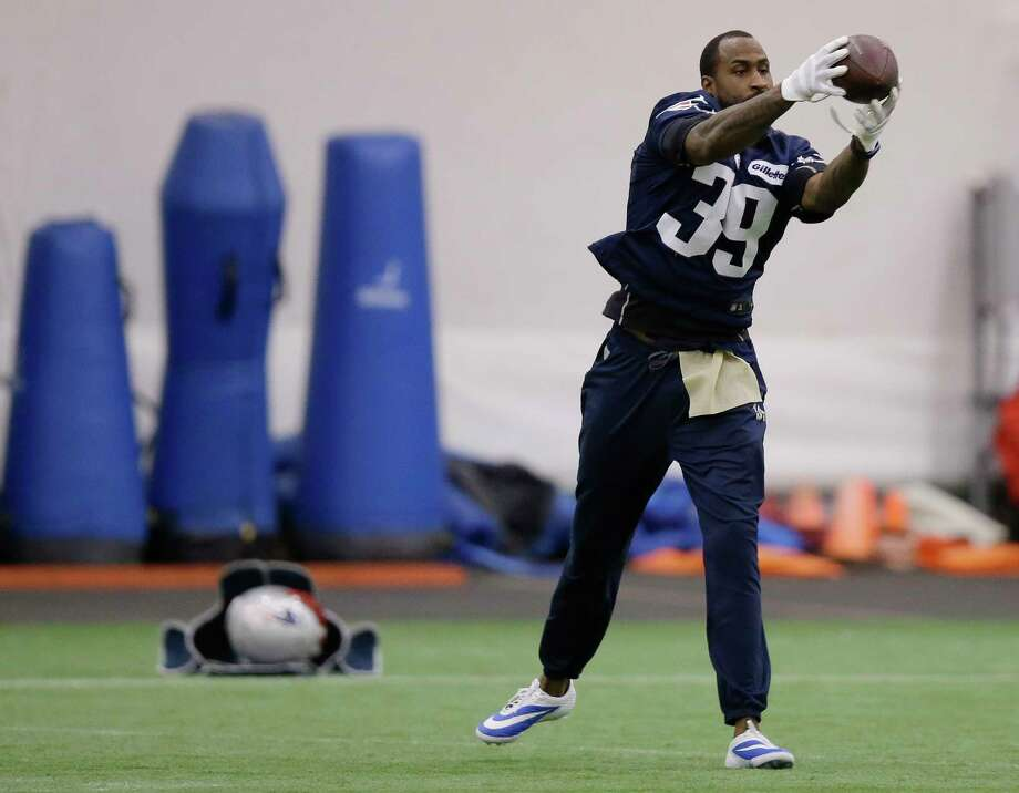 New England Patriots cornerback Brandon Browner catches a pass before practice on Wednesday in Foxborough, Mass. Photo: Stephan Savoia — The Associated Press  / AP
