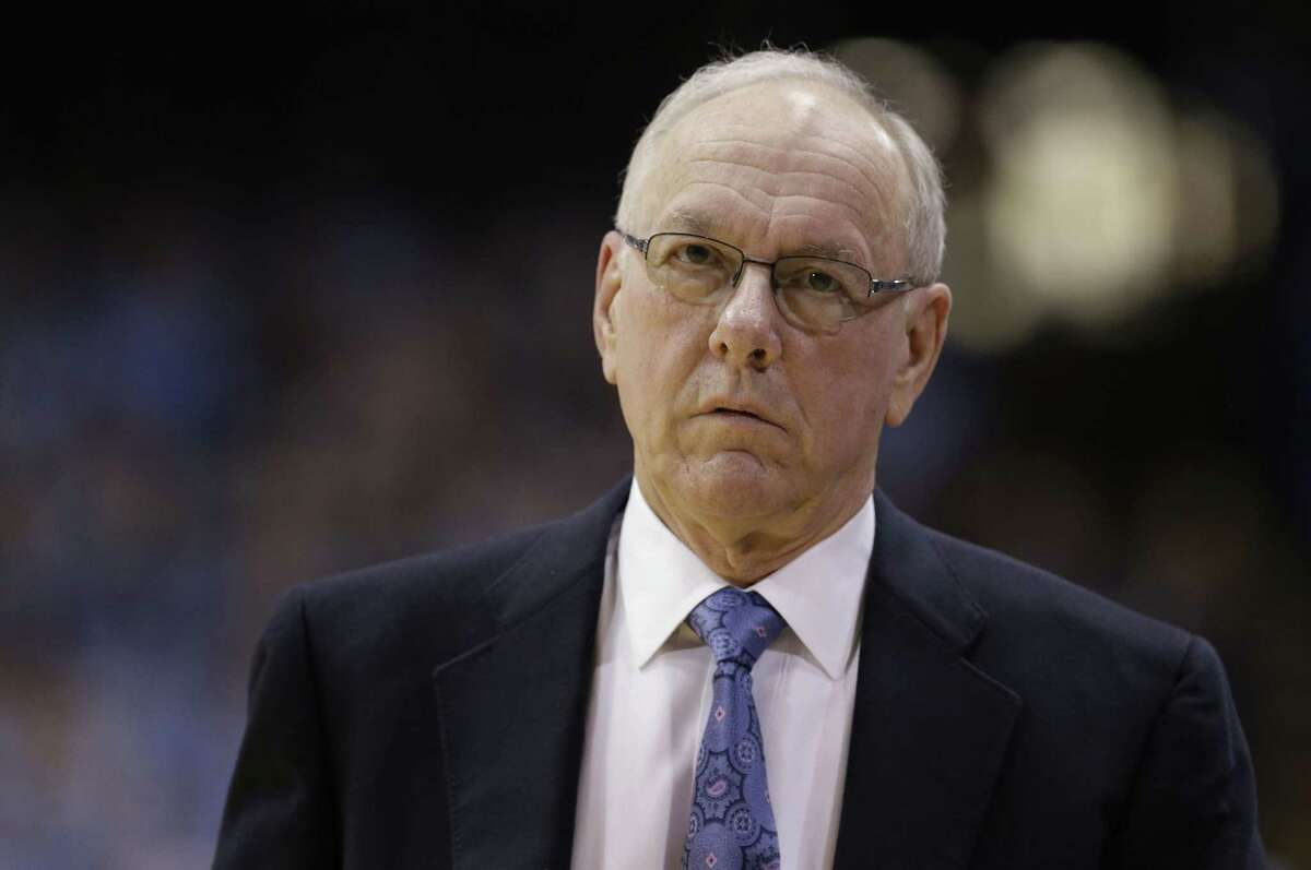 Syracuse coach Jim Boeheim walks along the sidelines during the first half of a game against North Carolina in Chapel Hill on Jan. 26.