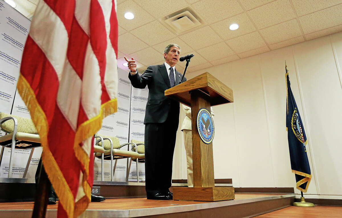 Acting Secretary of Veterans Affairs Sloan Gibson speaks to the media during a visit to the Audie L. Murphy VA Medical Center on June 6, 2014, in San Antonio.