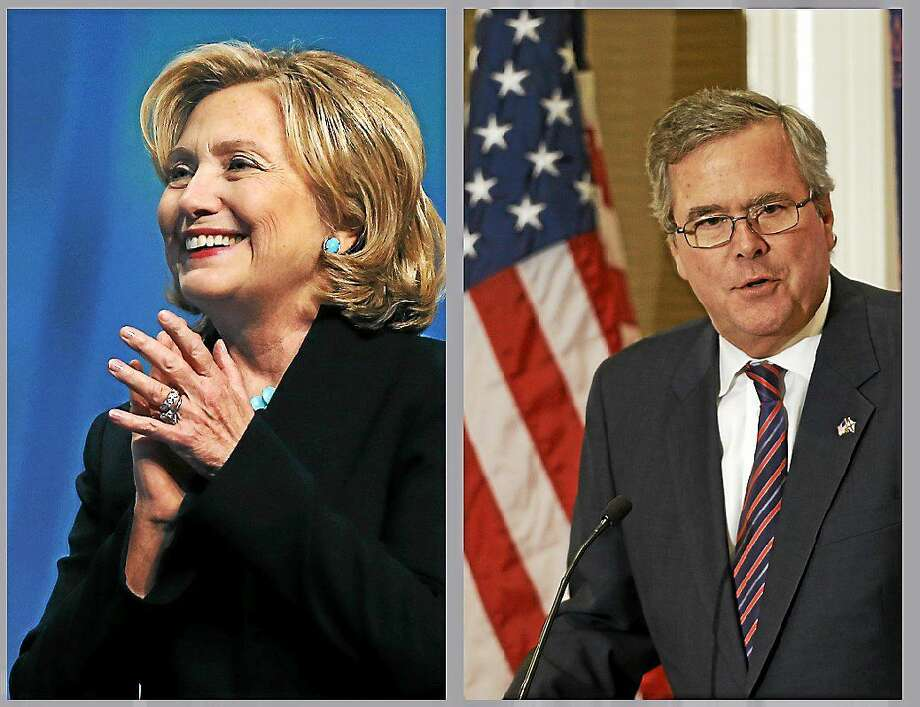 At left: Former Secretary of State Hillary Rodham Clinton reacts as she is introduced to speak at the Massachusetts Conference for Women in Boston on Dec. 4, 2014. At right: Former Florida Gov. Jeb Bush speaks during a Dallas Council of World Affairs luncheon on April 24, 2013 in Dallas. Photo: AP Photos