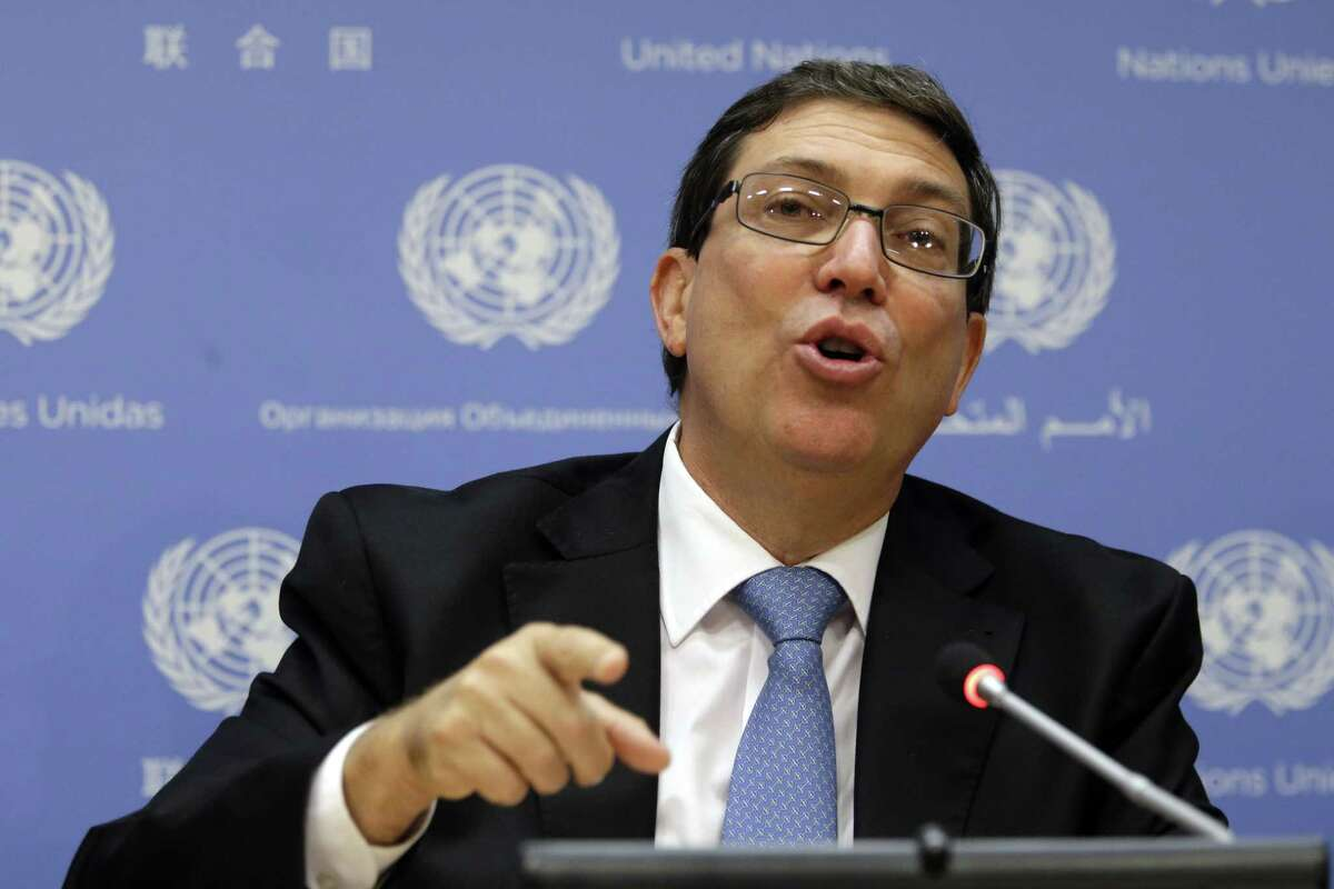 Cuba's Foreign Minister Bruno Rodriguez speaks to reporters during a news conference at United Nations headquarters on Sept. 29.