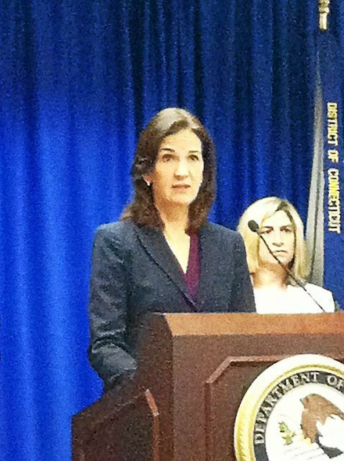 U.S. Attorney Deirdre Daly speaks at a press conference in New Haven Wednesday announcing the formation of a task force to combat public corruption, and a new hotline number. / Photo by Michelle Tuccitto Sullo