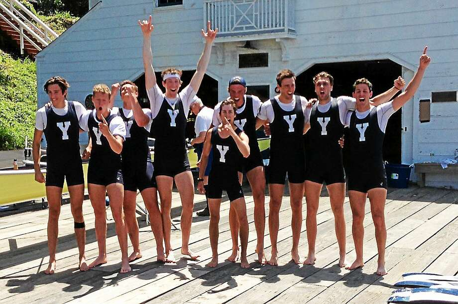 Jim Fuller - Register Members of the Yale crew team celebrate their win over Harvard in the 150th Yale-Harvard Regatta on Sunday. Photo: Journal Register Co.