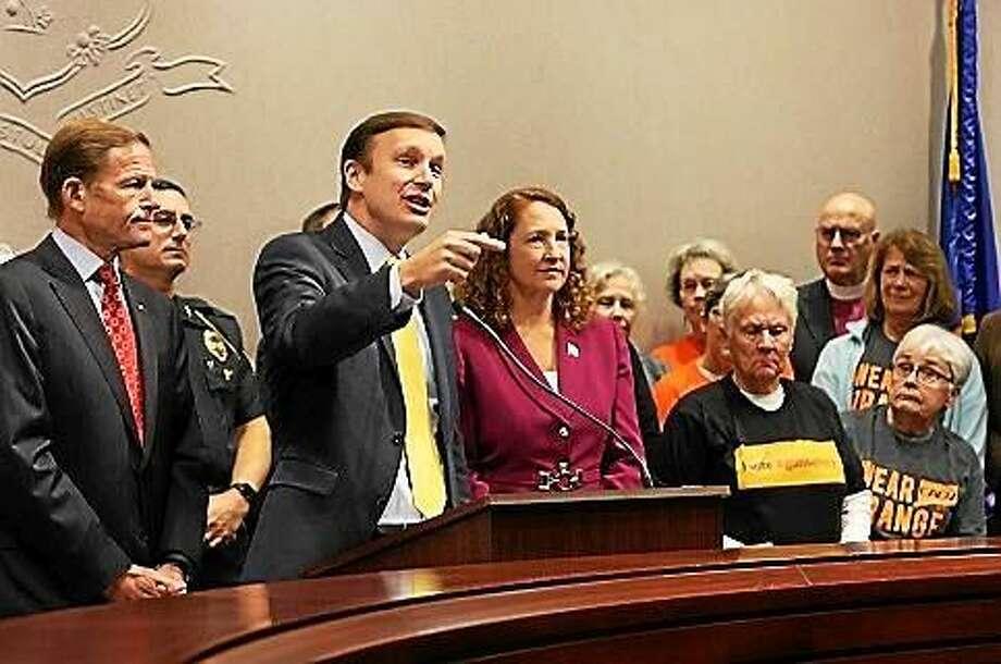 U.S. Sen. Richard Blumenthal (left), U.S. Senator Chris Murphy and U.S. Rep. Elizabeth Esty. Photo: Elizabeth Regan — Ctnewsjunkie.com