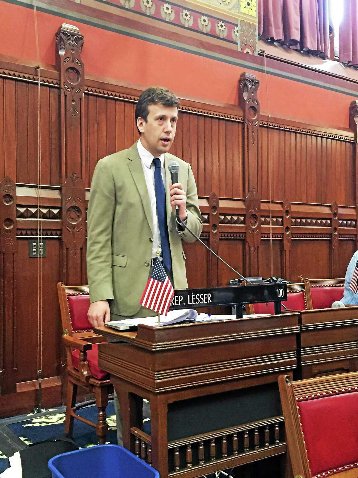 State Rep. Matthew Lesser Rep. Lesser is shown introducing SB 319 in the House Chamber at the Capitol n Hartford recently.