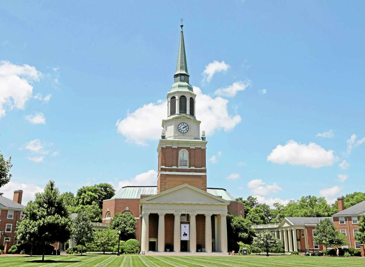 Wait Chapel is shown at Wake Forest University in Winston-Salem, N.C., Friday, June 6, 2014. Former President Bill Clinton and Oprah Winfrey are joining First Lady Michelle Obama at a weekend memorial service for poet and author Maya Angelou at Wait Chapel. (AP Photo/Chuck Burton)