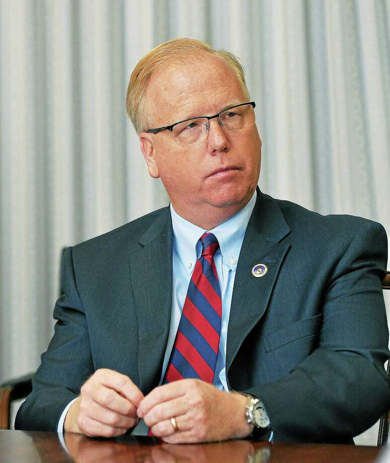 Republican gubernatorial candidate and Danbury Mayor Mark Boughton speaks to the New Haven Register editorial board in April. Photo: Peter Casolino — New Haven Register