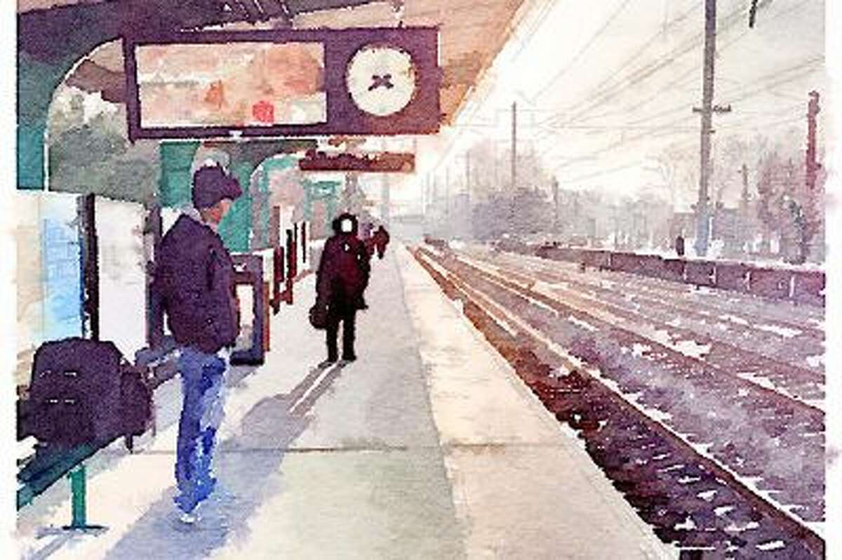 A photo of a New Jersey Transit platform rendered in watercolor. Illustrates WATERCOLORS (category e), by Kristin Hohenadel (c) 2014, Slate. Moved Wednesday, Feb. 19, 2014. (MUST CREDIT: Waterlogue.)