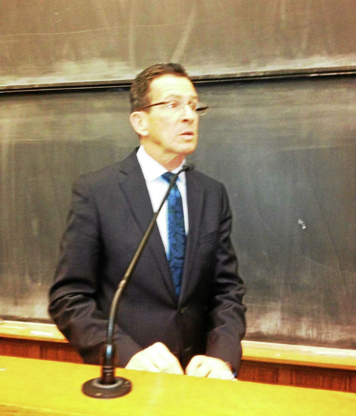 Mary O'Leary - New Haven Register) Gov. Dannel P. Malloy talks about crime reduction initiatives in a speech at Yale Law School