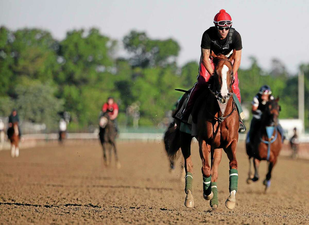 California Chrome takes a lap, with exercise rider Willie Delgado up, during a workout Friday at Belmont Park in New York.