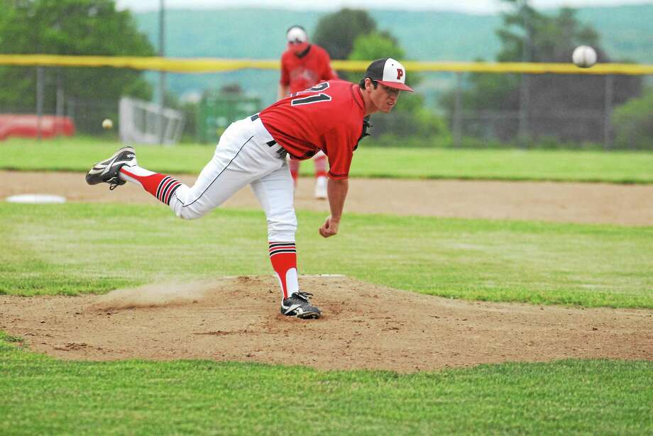 Portland senior Jason Staub scattered four hits in the Highlanders' 3-1 win over Old Lyme at Dyer Field on Friday. Photo: Jimmy Zanor — Middletown Press