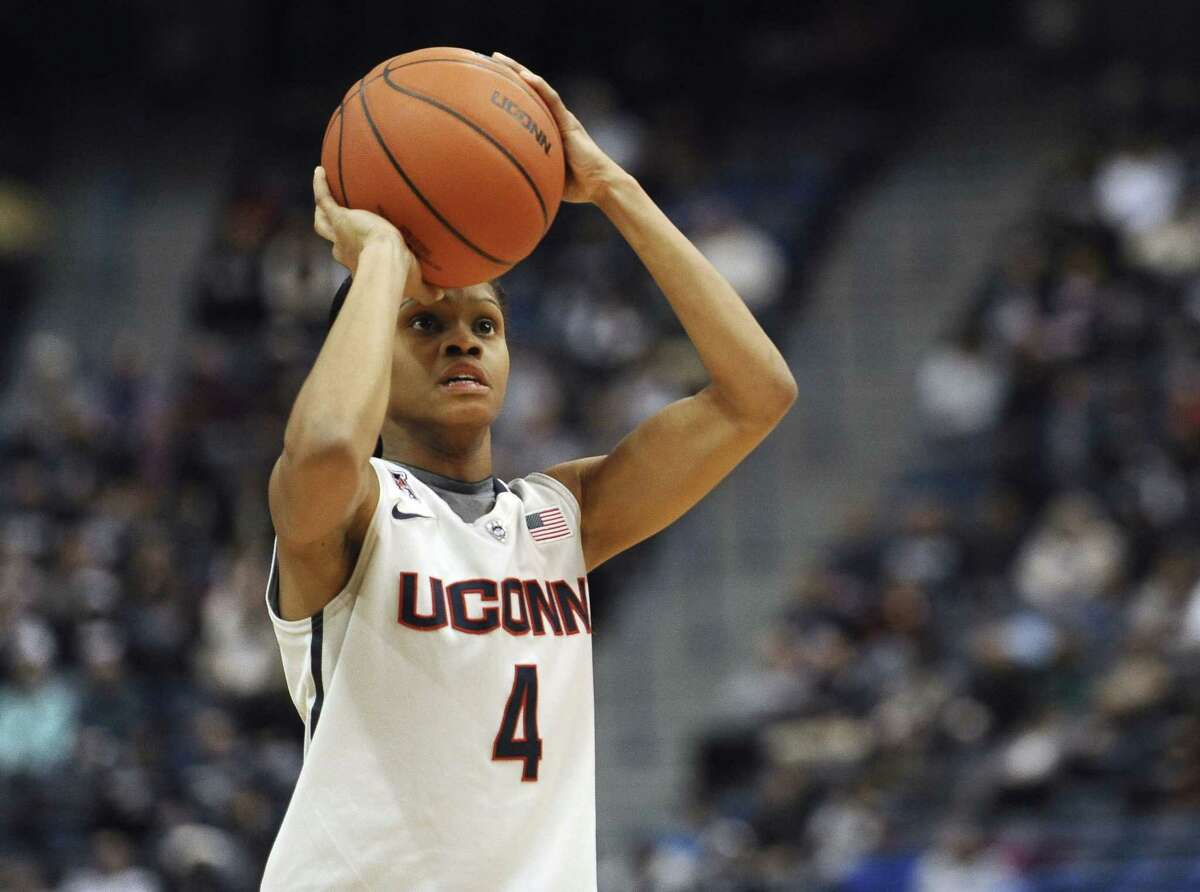 Connecticutís Moriah Jefferson shoots during the first half of an NCAA college basketball game, Wednesday, Jan. 28, 2015, in Hartford, Conn. (AP Photo/Jessica Hill)