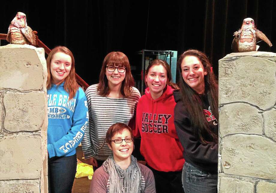 Submitted photos - Valley Regional Musical Productions  Valley Regional Musical Productions' newest cast member(s), Mr. Robin, arrives at rehearsal of THE SECRET GARDEN at Valley Regional High School. Back row, from left, are VRMP cast members Megan Ryan, Shelby Talbot, Kristen Kilby and Annie Brown. In front is puppet artist Linda Wingerter. Photo: Journal Register Co.