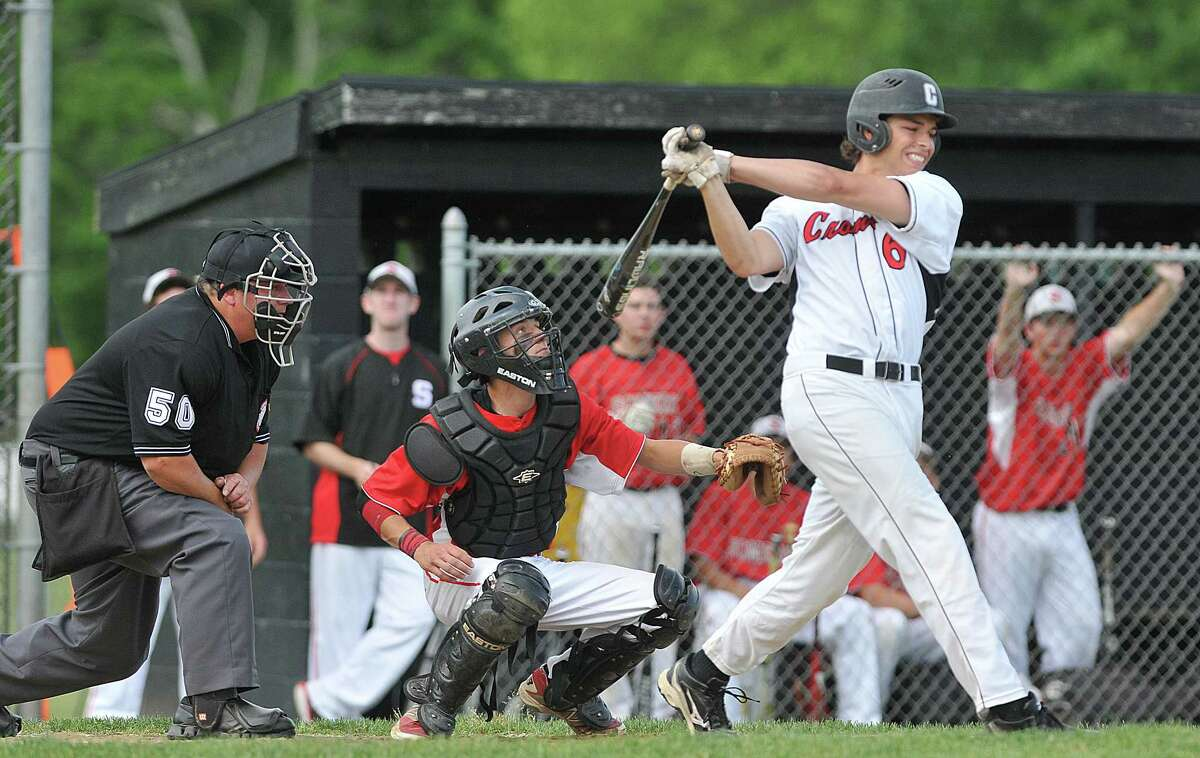 Cromwell senior Logan Lessard at bat against Somers in the CIAC 2014 Class S Quarterfinal game in Cromwell Friday afternoon. Cromwell defeated the Spartans 2-0, advancing to the semifinals.