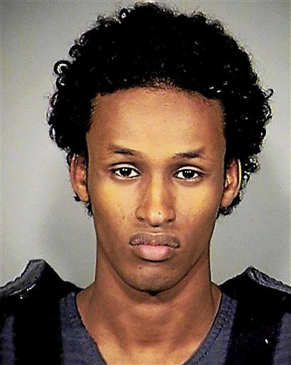 FILE - A Nov. 27, 2010, file photo provided by the Multnomah County, Ore., Sheriff's Office, shows Mohamed Mohamud. Nearly four years after 19-year-old Mohamud showed up at a Christmas tree lighting ceremony in Portland, Ore., and triggered what turned out to be a fake bomb provided by the FBI, he is scheduled to be sentenced Wednesday, Oct. 1, 2014. (AP Photo/Multnomah County Sheriff's Office, File)