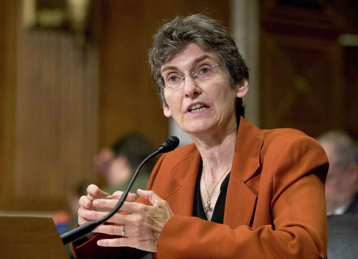 """Environmental Protection Agency (EPA) Acting Assistant Administrator for Air and Radiation Janet McCabe, testifies on Capitol Hill in Washington on Sept. 29, 2015, before the Senate Environment and Public Works Committee hearing on """"Economy-wide Implications of President Obama's Air Agenda."""""""