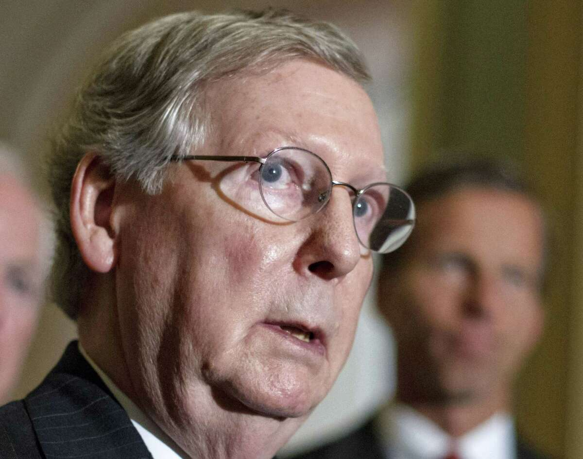 Senate Minority Leader Mitch McConnell, of Ky., speaks on Capitol Hill in Washington in this 2012 file photo.
