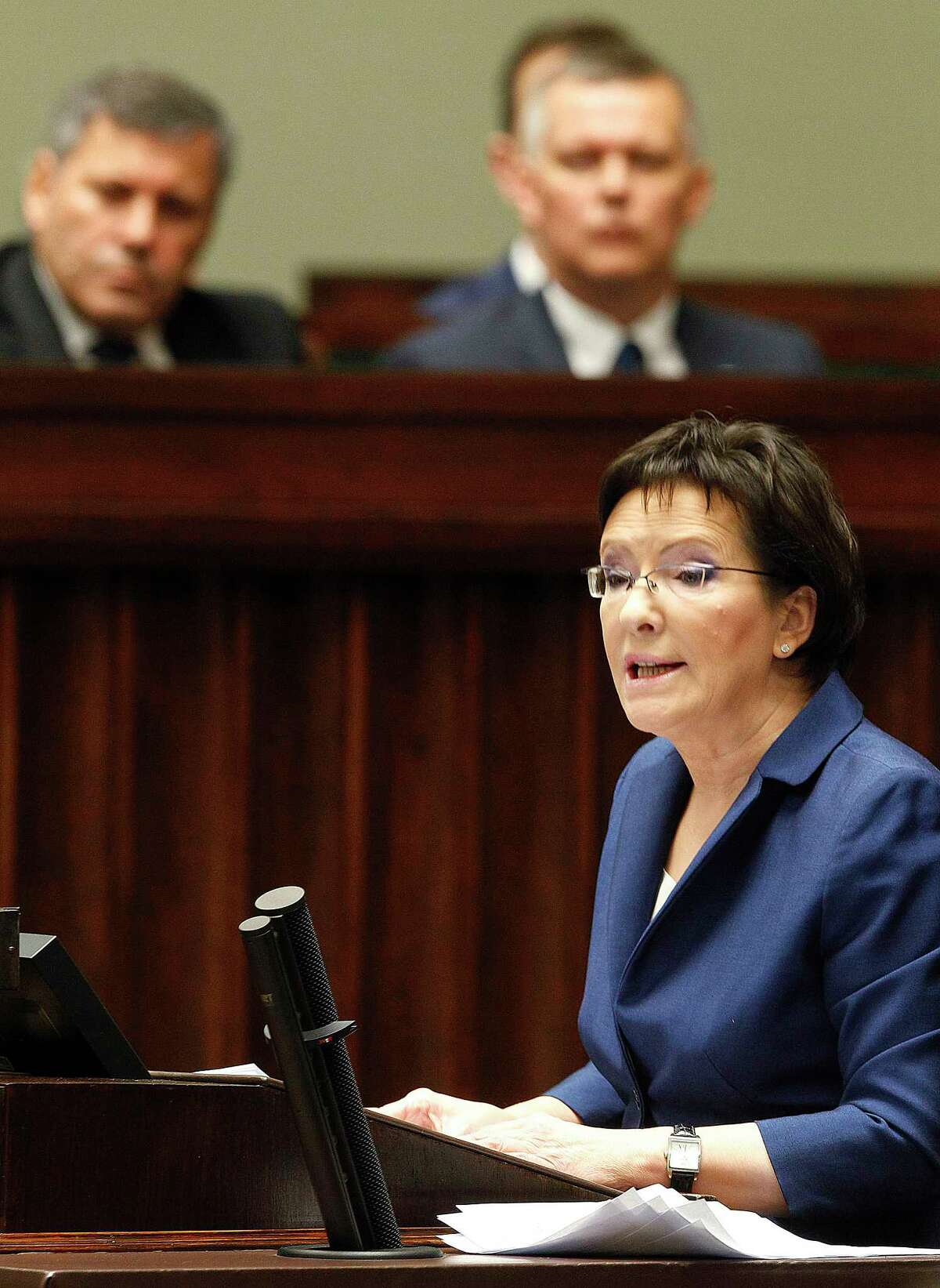 Poland's new prime minister Ewa Kopacz delivers her inaugural speech in the parliament in Warsaw, Poland, Wednesday, Oct. 1, 2014. Kopacz took over the post from Donald Tusk, who will head the European Council starting Dec. 1. (AP Photo/Czarek Sokolowski)