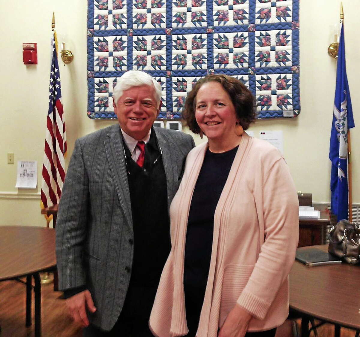 Submitted photo. U.S. Rep. John Larson visited the Portland Senior Center on Wednesday and met with director Mary Flood on Wednesday. Larson also discussed the economy, Medicare, Social Security and current events with the director and others at the senior center.