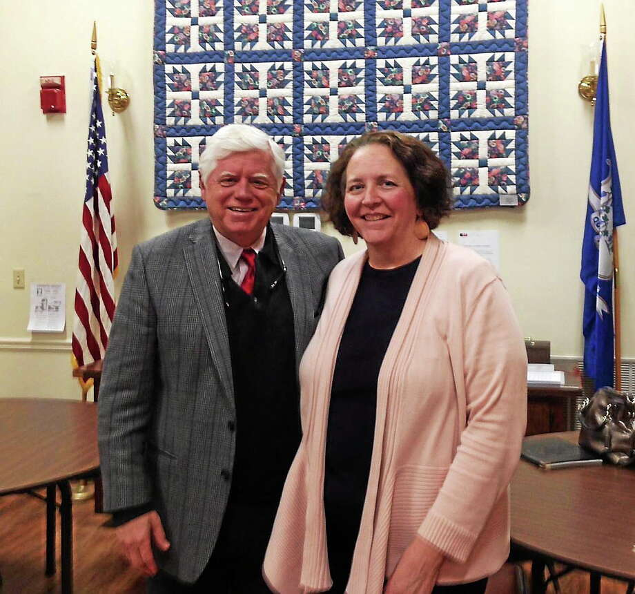 Submitted photo. U.S. Rep. John Larson visited the Portland Senior Center on Wednesday and met with director Mary Flood on Wednesday. Larson also discussed the economy, Medicare, Social Security and current events with the director and others at the senior center. Photo: Submitted Photo