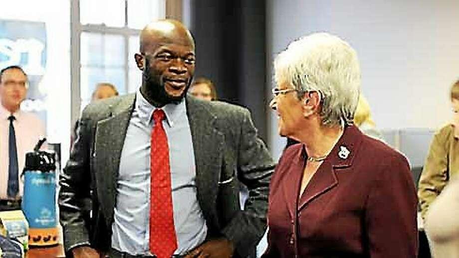 Business executive Onyeka Obiocha with Lt. Gov. Nancy Wyman Photo: Photo Courtesy Of CT News Junkie