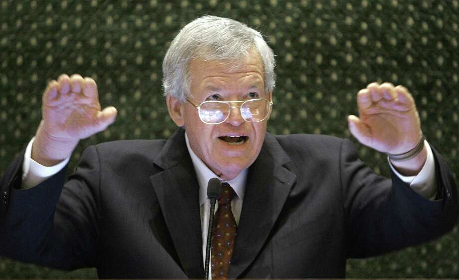 FILE - In this March 5, 2008, file photo, former U.S. House Speaker Dennis Hastert speaks to lawmakers on the Illinois House of Representatives floor at the state Capitol in Springfield, Ill. A federal judge on Tuesday delayed former U.S. House Speaker Dennis Hastert's first court appearance until June 9 following his indictment in Chicago. The Illinois Republican was scheduled to be arraigned Thursday, but the hearing has now been pushed back. The change was made without explanation in a one-sentence court filing by U.S. District Judge Thomas M. Durkin's clerk. (AP Photo/Seth Perlman, File) Photo: AP / AP
