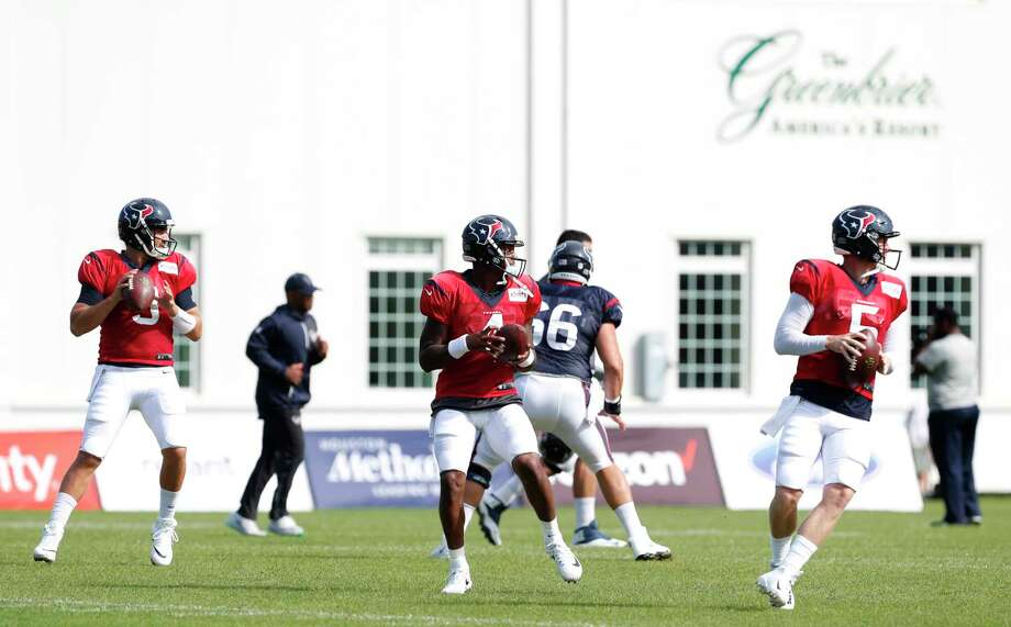 Houston Texans quarterbacks Tom Savage (3), Deshaun Watson (4) and Brandon Weeden (5) warm up during training camp at The Greenbrier on Saturday, Aug. 12, 2017, in White Sulphur Springs, W.Va. Photo: Brett Coomer, Houston Chronicle / © 2017 Houston Chronicle}