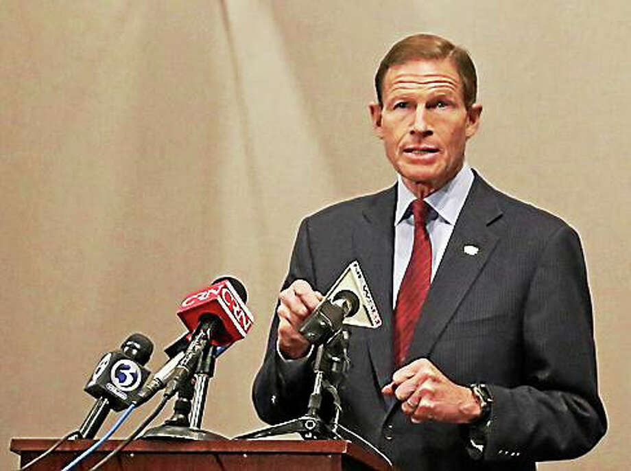 Sen. Richard Blumenthal speaks to reporters on Monday. Photo: Christine Stuart — CT News Junkie