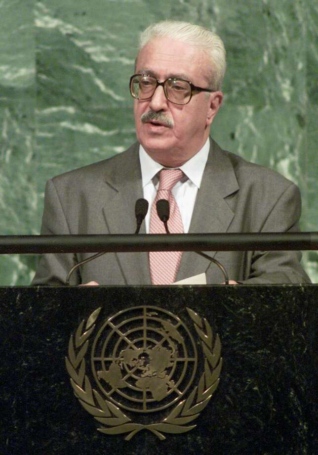 FILE - In this Thursday, Sept. 7, 2000, file photo, Iraqi Foreign Minister Tariq Aziz speaks during the U.N. Millennium Summit at the United Nations. Tariq Aziz, the debonair Iraqi diplomat who made his name by staunchly defending Saddam Hussein to the world during three wars and was later sentenced to death as part of the regime that killed hundreds of thousands of its own people, has died in a hospital in southern Iraq. He was 79. (AP Photo/Richard Drew, File) Photo: AP / AP