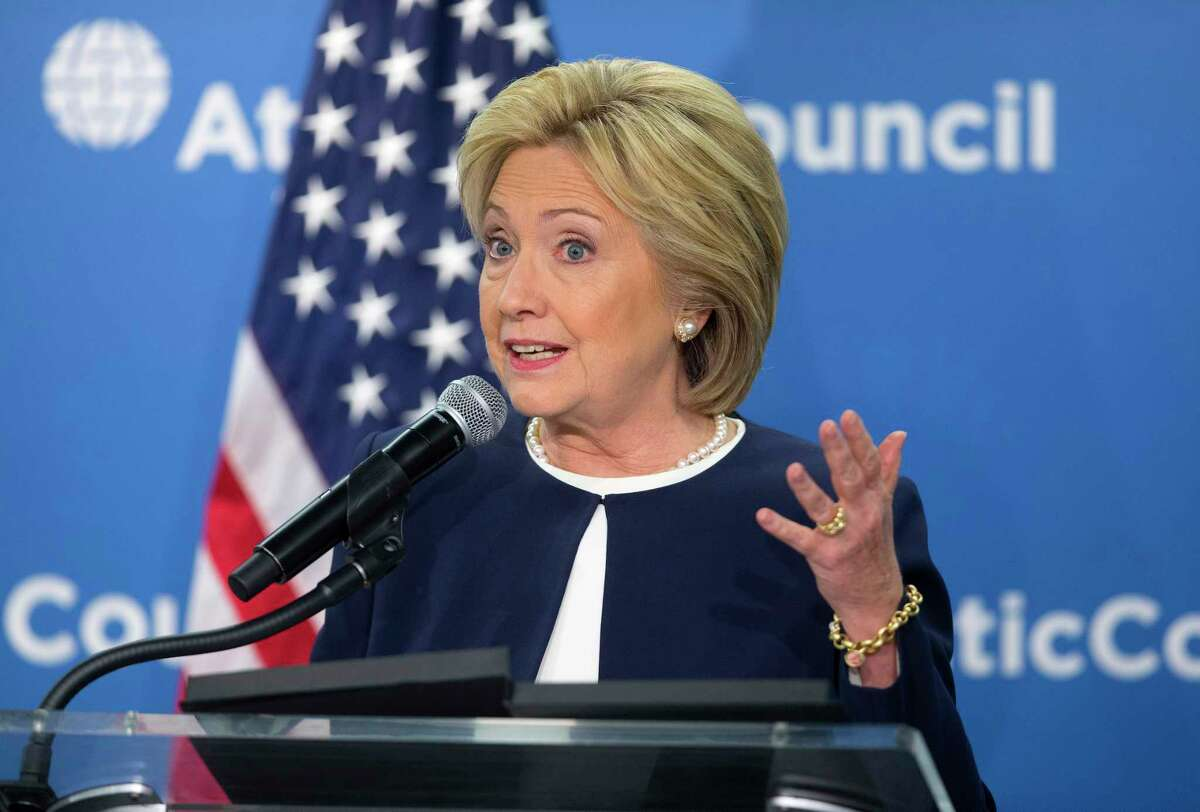 Democratic presidential candidate Hillary Clinton speaks at the Atlantic Council Women's Leadership in Latin America Initiative in Washington Monday.