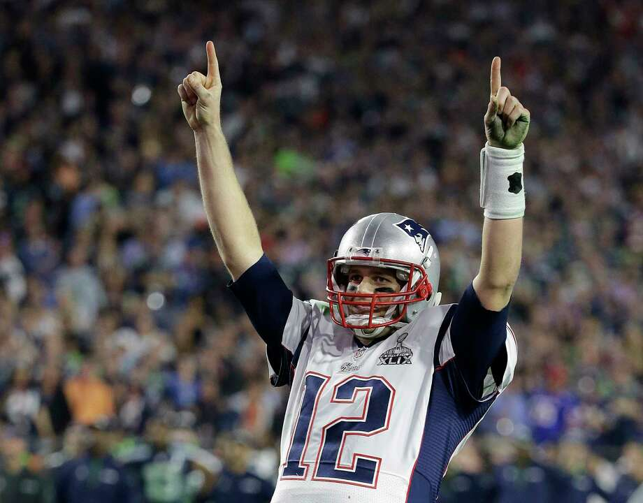 Kathy Willens — The Associated Press Tom Brady celebrates during Sunday's Super Bowl victory over the Seattle Seahawks. Brady was named the MVP, his third MVP award. Photo: AP / AP