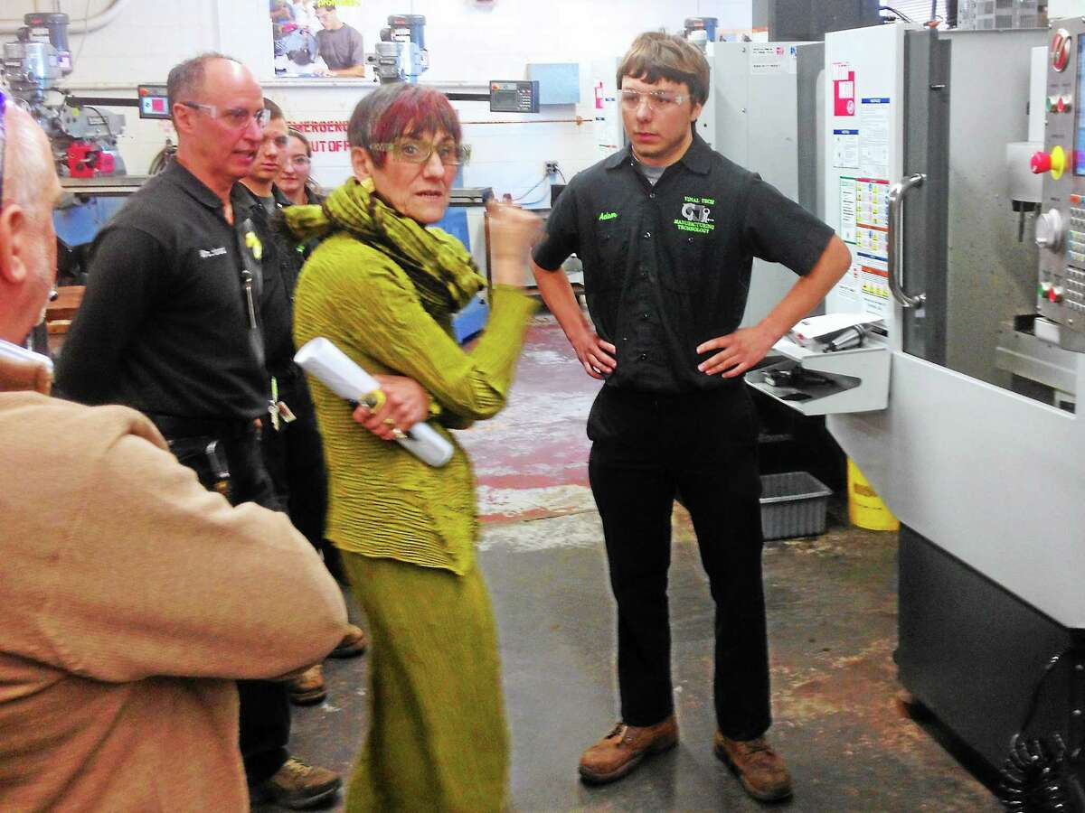 U.S. Rep. Rosa DeLauro tours Vinal Technical High School before meeting with manufacturing professionals and educators in this archive photograph.