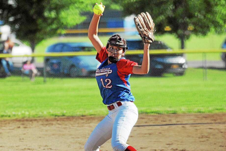 Coginchaug sophomore Gabby Diaz delivers a pitch during the Blue Devils'  3-1 Class S quarterfinal win against St. Bernard. Photo: Jimmy Zanor — Middletown Press