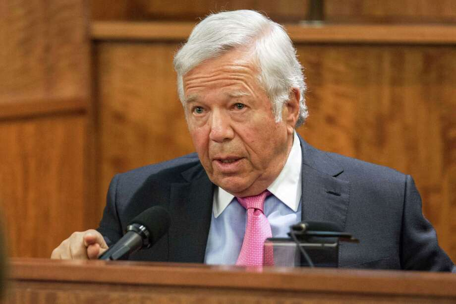 New England Patriots owner Robert Kraft testifies during the murder trial of former Patriot Aaron Hernandez on Tuesday at Bristol County Superior Court in Fall River, Mass. Photo: Aram Boghosian — The Boston Globe  / Pool The Boston Globe